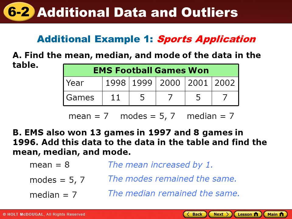 6-2 Additional Data and Outliers Additional Example 1: Sports Application A. Find the mean, median, and mode of the data in the table. 757511Games 200