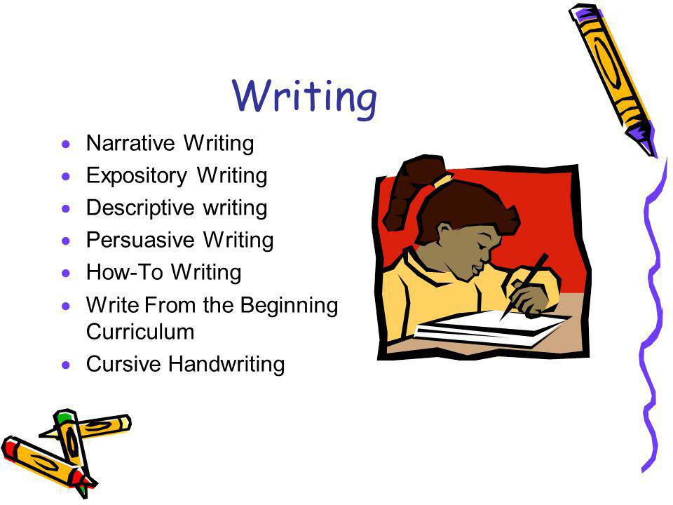 Writing Narrative Writing Expository Writing Descriptive writing Persuasive Writing How-To Writing Write From the Beginning Curriculum Cursive Handwriting