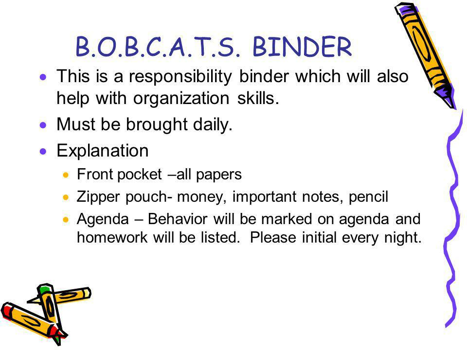 B.O.B.C.A.T.S. BINDER This is a responsibility binder which will also help with organization skills. Must be brought daily. Explanation Front pocket –
