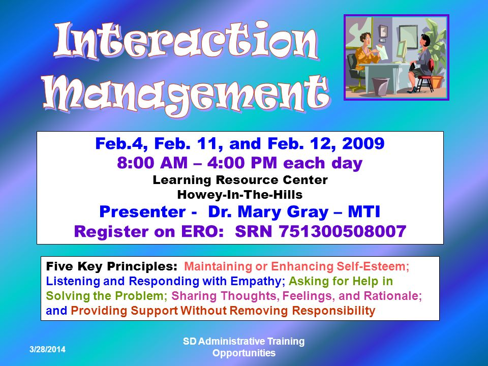 3/28/2014 SD Administrative Training Opportunities Feb.4, Feb.