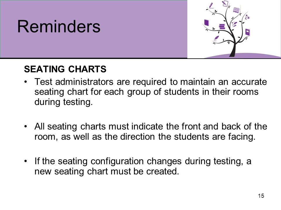 15 Reminders SEATING CHARTS Test administrators are required to maintain an accurate seating chart for each group of students in their rooms during testing.