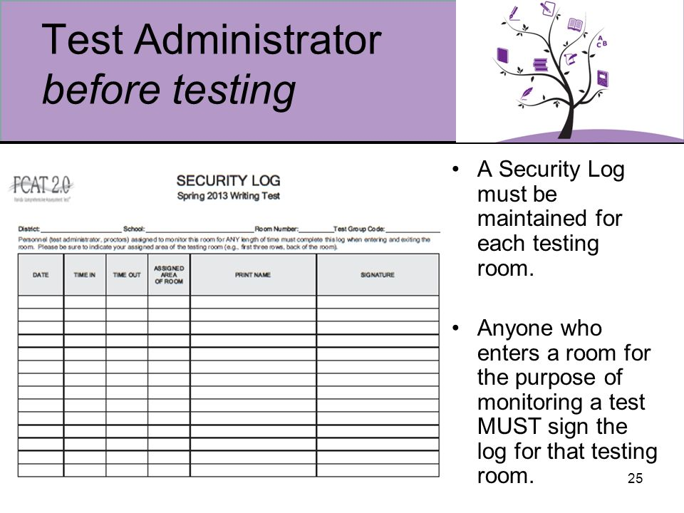 25 Test Administrator before testing A Security Log must be maintained for each testing room.