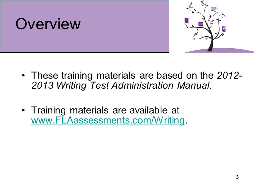 3 Overview These training materials are based on the 2012- 2013 Writing Test Administration Manual.