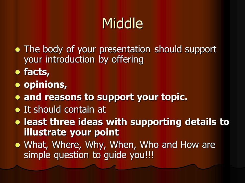 Middle The body of your presentation should support your introduction by offering The body of your presentation should support your introduction by of