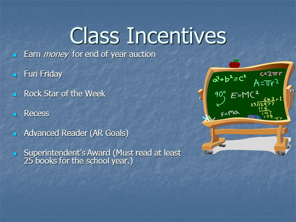 Class Incentives Earn money for end of year auction Earn money for end of year auction Fun Friday Fun Friday Rock Star of the Week Rock Star of the Week Recess Recess Advanced Reader (AR Goals) Advanced Reader (AR Goals) Superintendents Award (Must read at least 25 books for the school year.) Superintendents Award (Must read at least 25 books for the school year.)