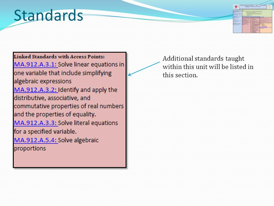 Standards Additional standards taught within this unit will be listed in this section.