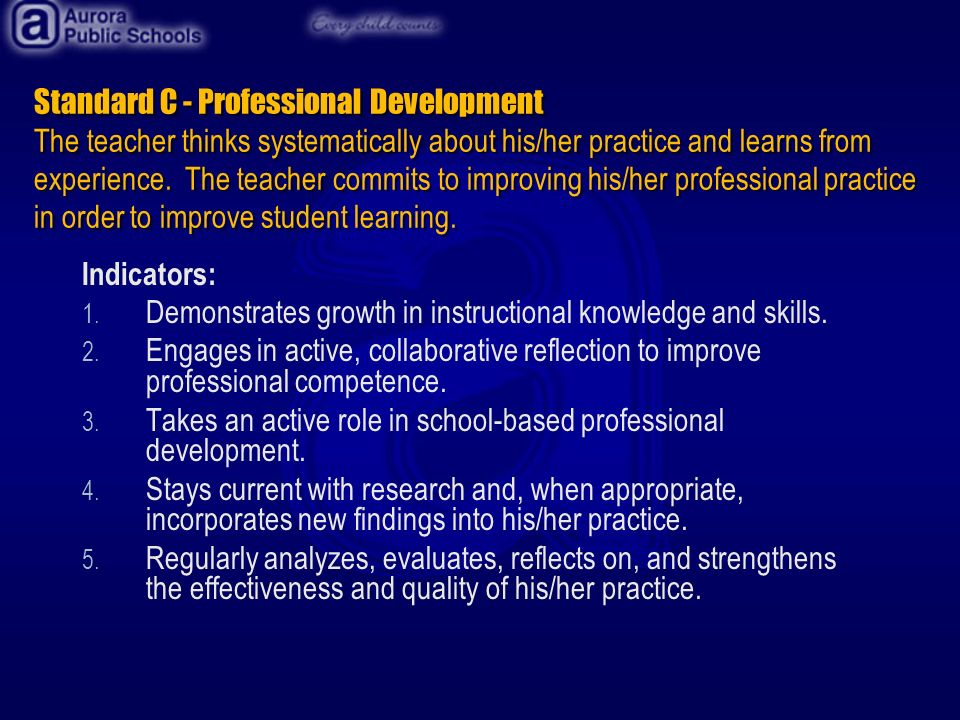 Standard C - Professional Development The teacher thinks systematically about his/her practice and learns from experience.