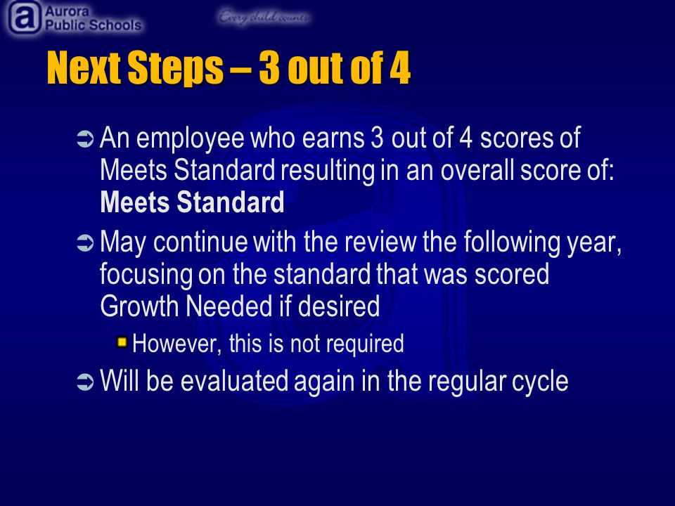 Next Steps – 3 out of 4 An employee who earns 3 out of 4 scores of Meets Standard resulting in an overall score of: Meets Standard May continue with the review the following year, focusing on the standard that was scored Growth Needed if desired However, this is not required Will be evaluated again in the regular cycle