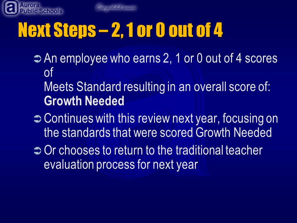 Next Steps – 2, 1 or 0 out of 4 An employee who earns 2, 1 or 0 out of 4 scores of Meets Standard resulting in an overall score of: Growth Needed Continues with this review next year, focusing on the standards that were scored Growth Needed Or chooses to return to the traditional teacher evaluation process for next year