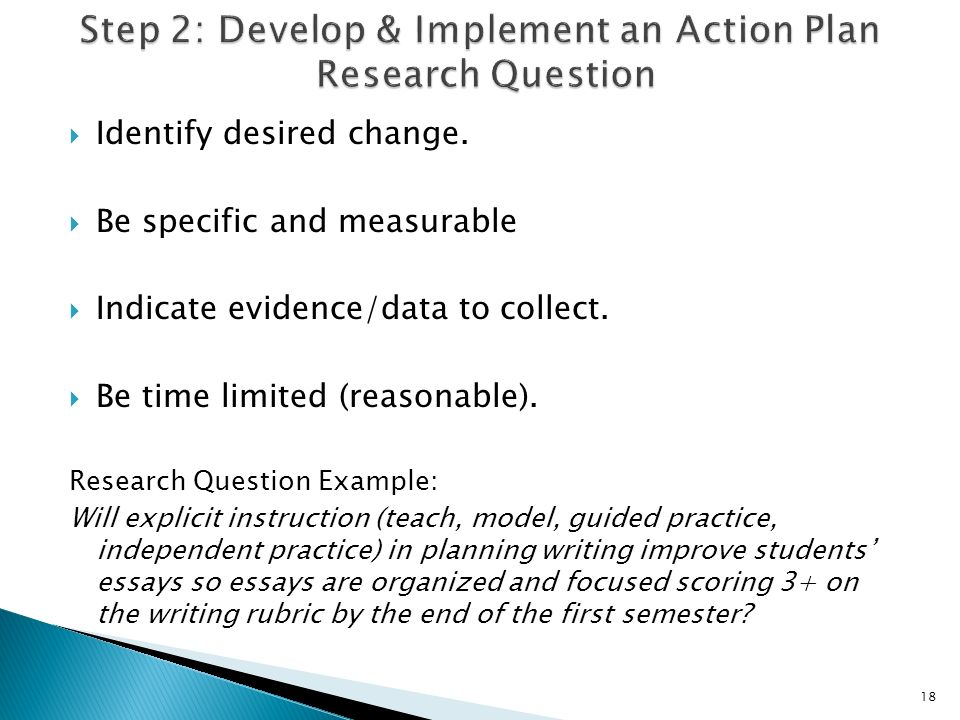 Identify desired change. Be specific and measurable Indicate evidence/data to collect.