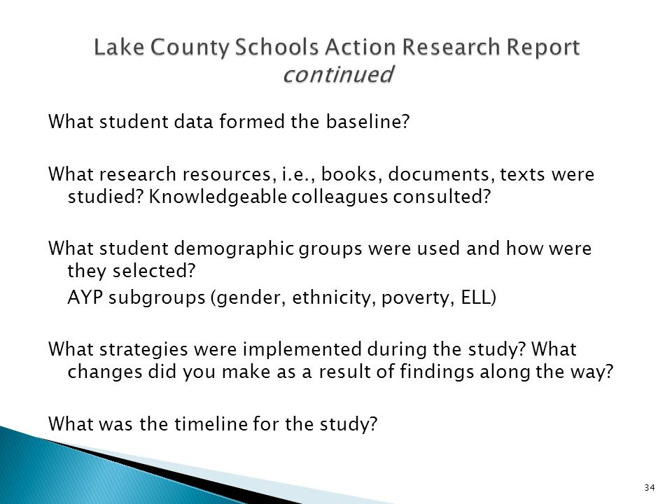 What student data formed the baseline.