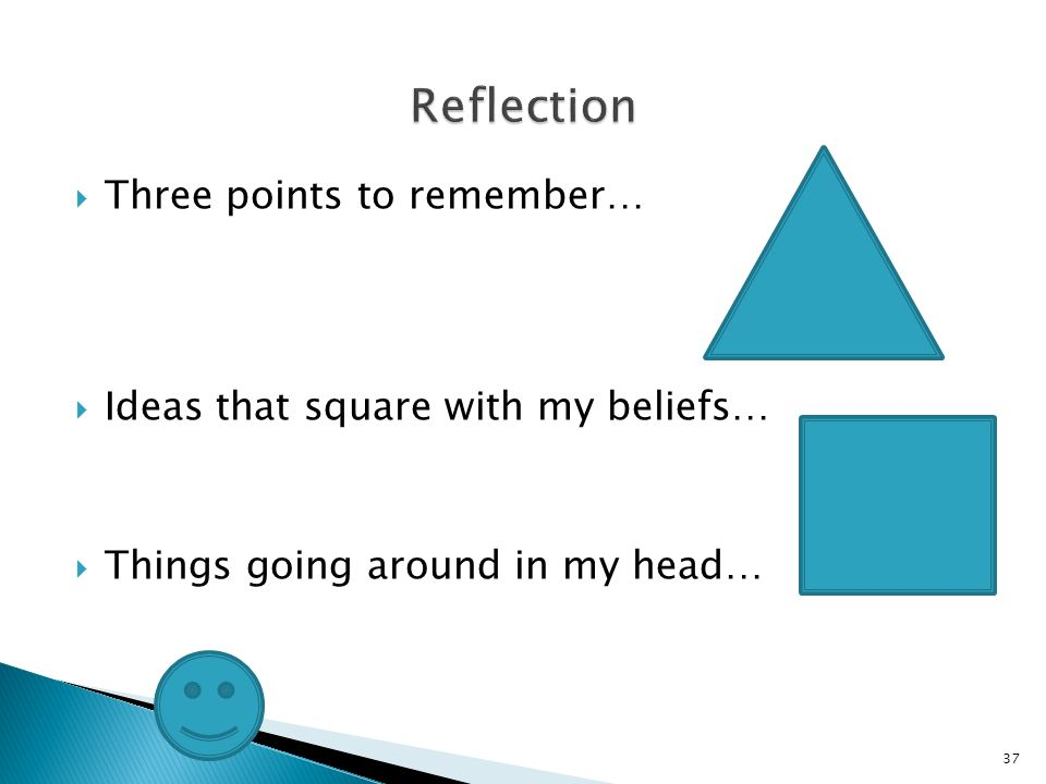 Three points to remember… Ideas that square with my beliefs… Things going around in my head… 37
