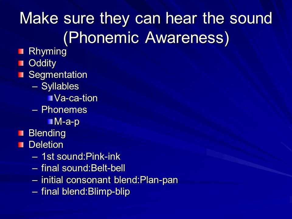 Make sure they can hear the sound (Phonemic Awareness) RhymingOdditySegmentation –Syllables Va-ca-tion –Phonemes M-a-pBlendingDeletion –1st sound:Pink