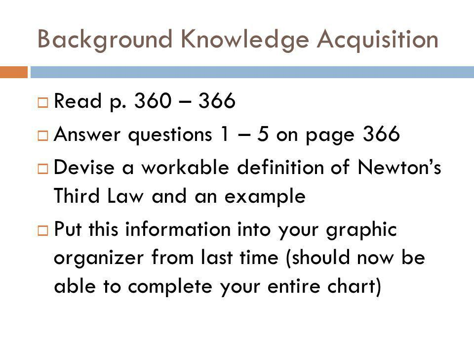 Background Knowledge Acquisition Read p. 360 – 366 Answer questions 1 – 5 on page 366 Devise a workable definition of Newtons Third Law and an example