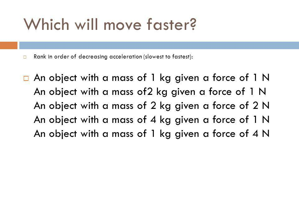 Which will move faster? Rank in order of decreasing acceleration (slowest to fastest): An object with a mass of 1 kg given a force of 1 N An object wi