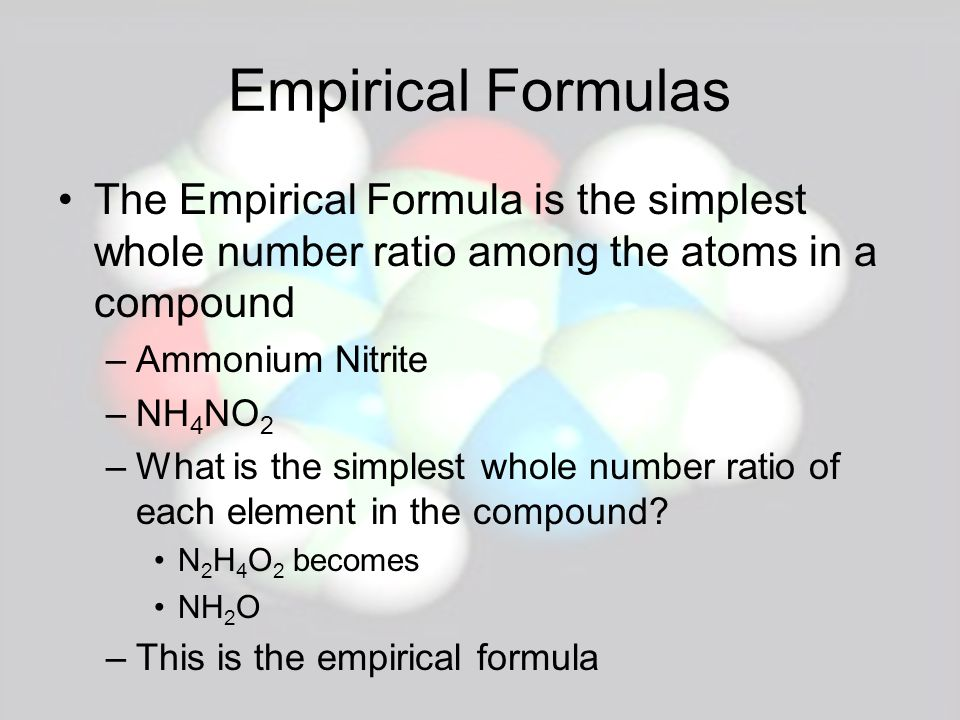 Percent Composition and Empirical Formula One can determine the Empirical Formula from percent composition –Chemical analysis of a liquid shows that it is 60.0% C, 13.4% H, and 26.6% O by mass.