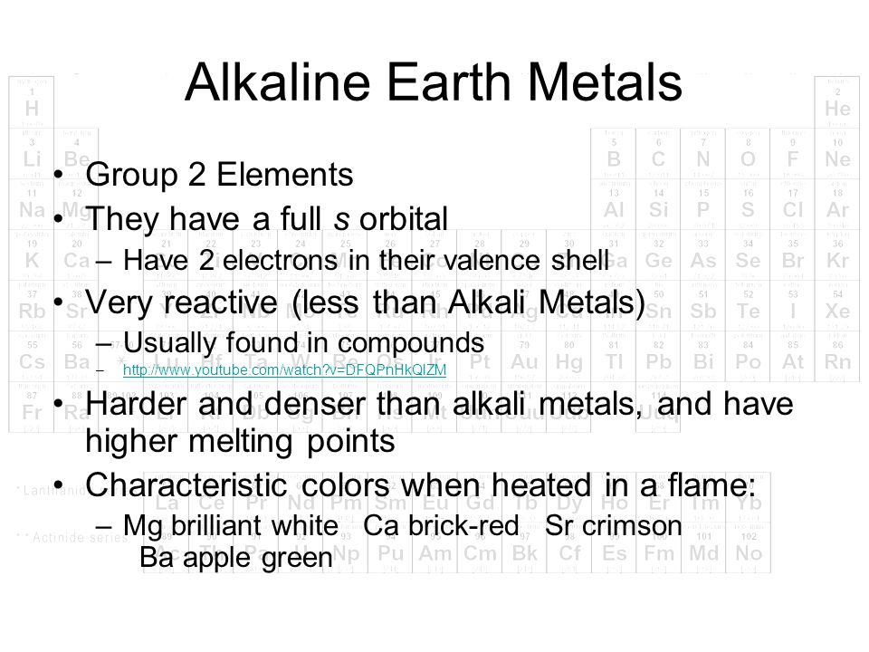 Alkaline Earth Metals Group 2 Elements They have a full s orbital –Have 2 electrons in their valence shell Very reactive (less than Alkali Metals) –Us