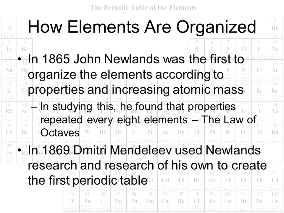 How Elements Are Organized In 1865 John Newlands was the first to organize the elements according to properties and increasing atomic mass –In studyin