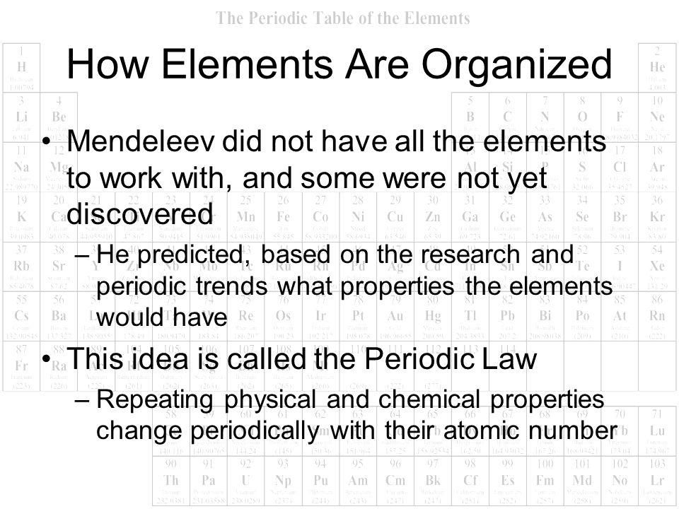 Mendeleev did not have all the elements to work with, and some were not yet discovered –He predicted, based on the research and periodic trends what p