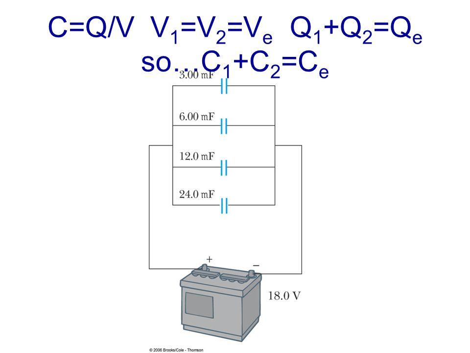 C=Q/V V 1 =V 2 =V e Q 1 +Q 2 =Q e so…C 1 +C 2 =C e