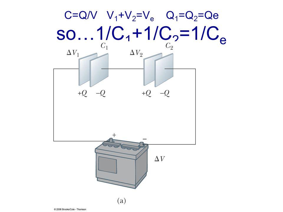 C=Q/V V 1 +V 2 =V e Q 1 =Q 2 =Qe so…1/C 1 +1/C 2 =1/C e