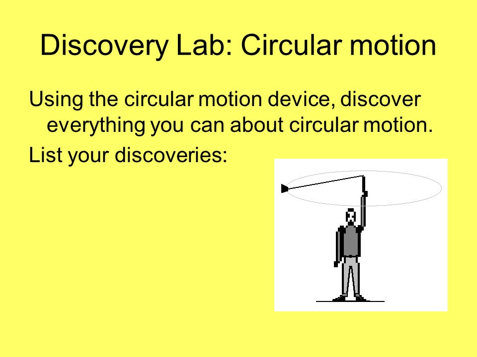Discovery Lab: Circular motion Using the circular motion device, discover everything you can about circular motion. List your discoveries: