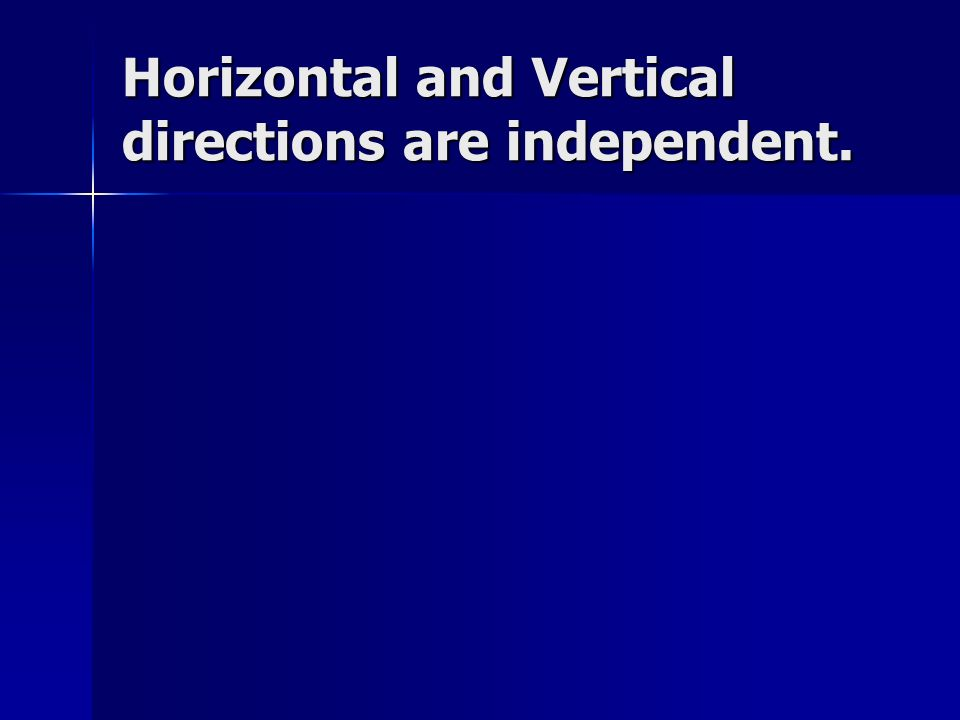 Horizontal and Vertical directions are independent.