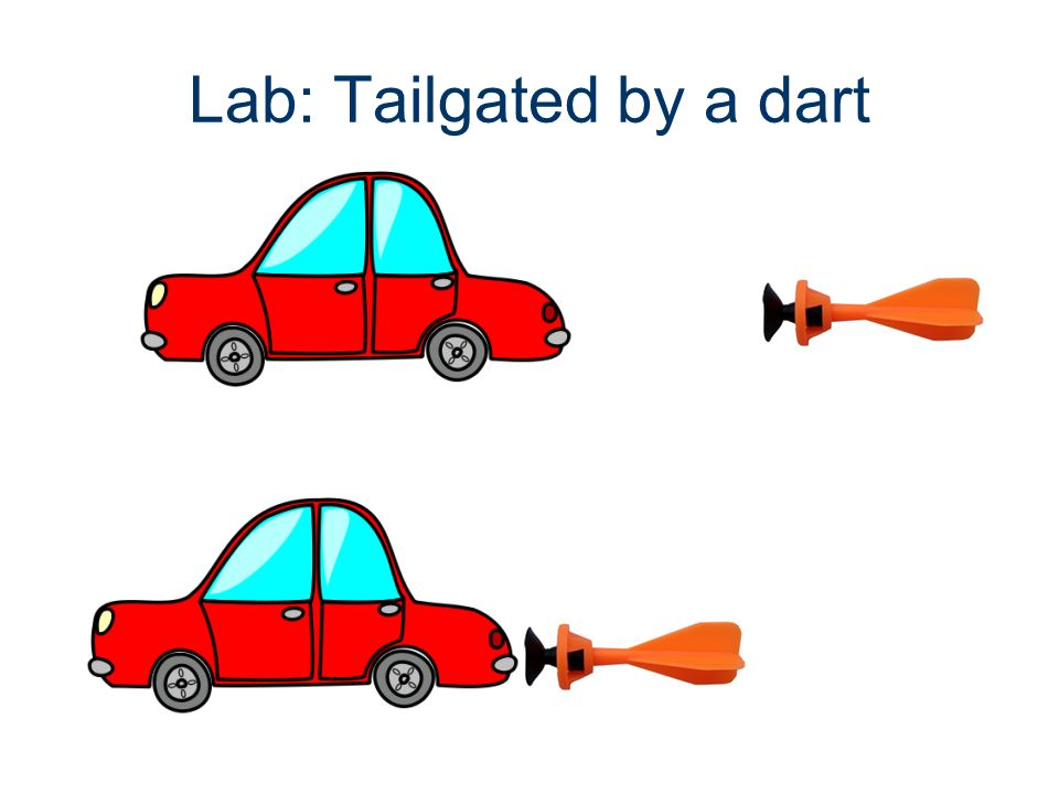Tail gated by a dart Problem: what is the velocity of the dart before it hits the car.