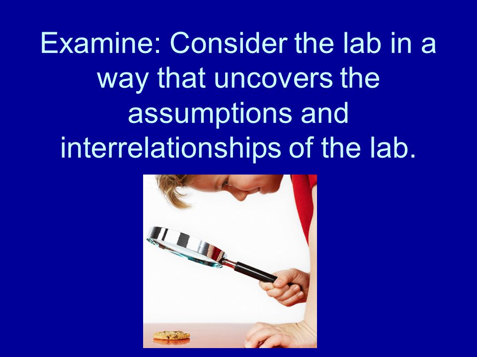 Examine: Consider the lab in a way that uncovers the assumptions and interrelationships of the lab.