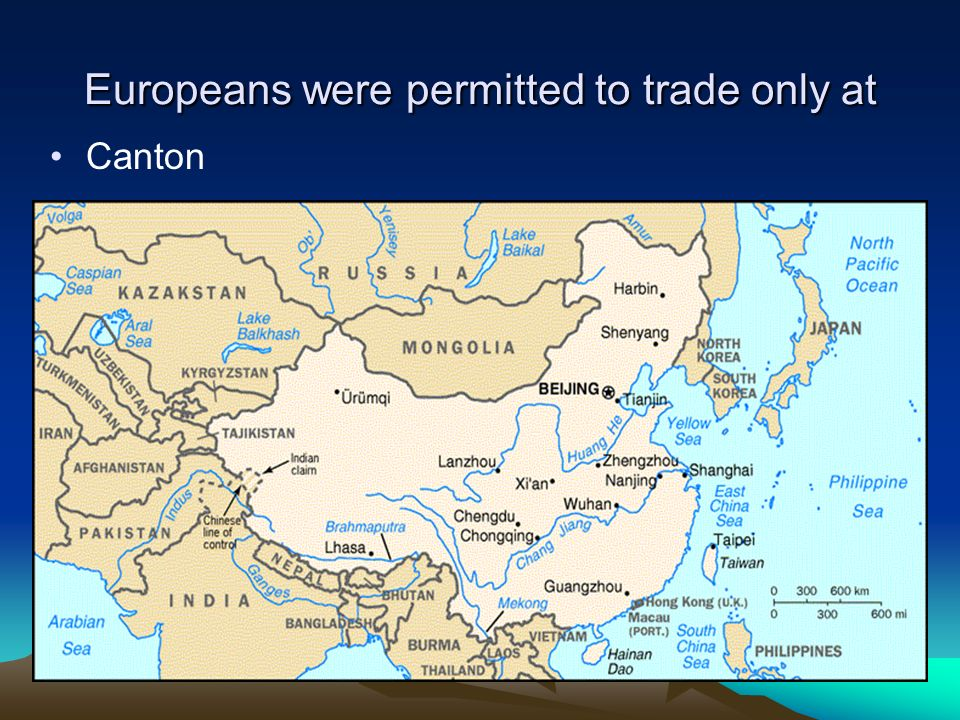 Europeans were permitted to trade only at Canton