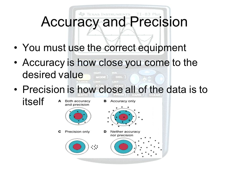 Accuracy and Precision You must use the correct equipment Accuracy is how close you come to the desired value Precision is how close all of the data i