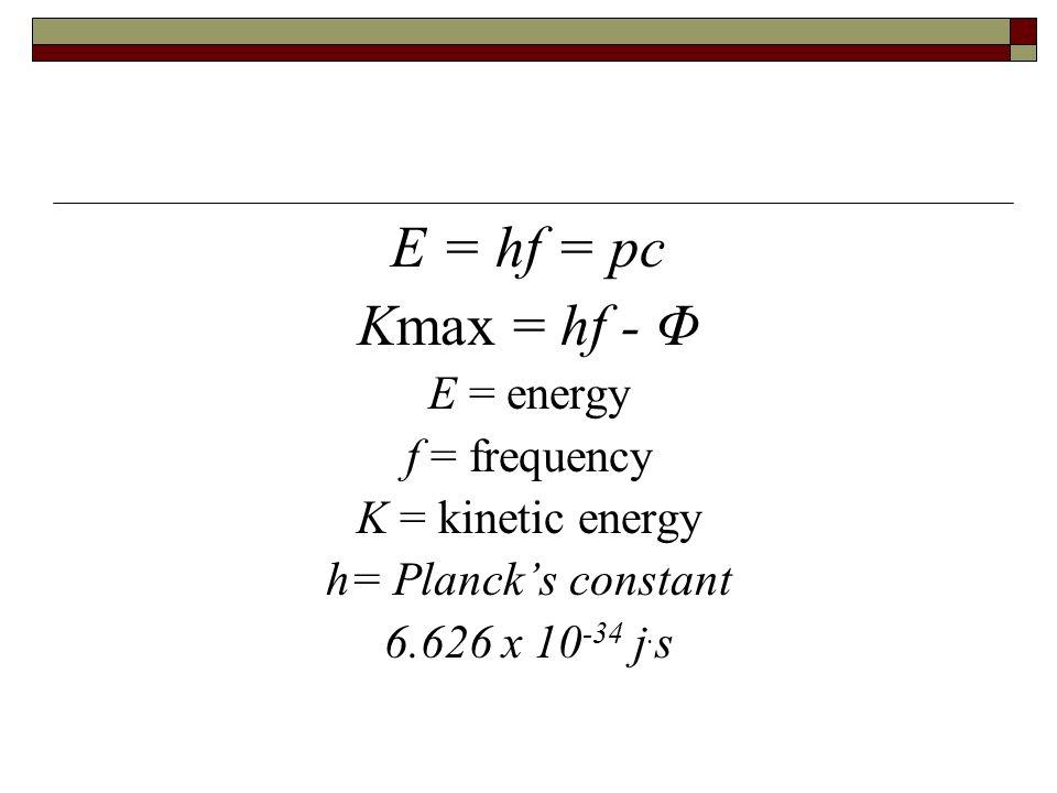 E = hf = pc Kmax = hf - Φ E = energy f = frequency K = kinetic energy h= Plancks constant 6.626 x 10 -34 j. s