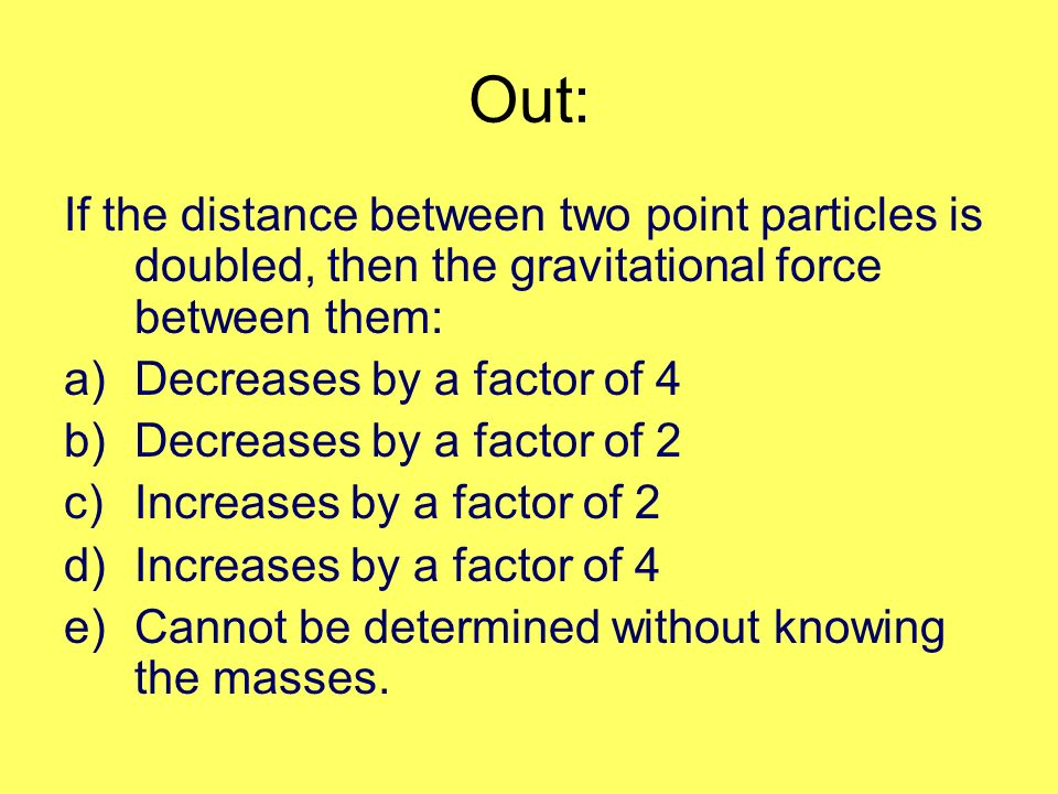 Out: If the distance between two point particles is doubled, then the gravitational force between them: a)Decreases by a factor of 4 b)Decreases by a