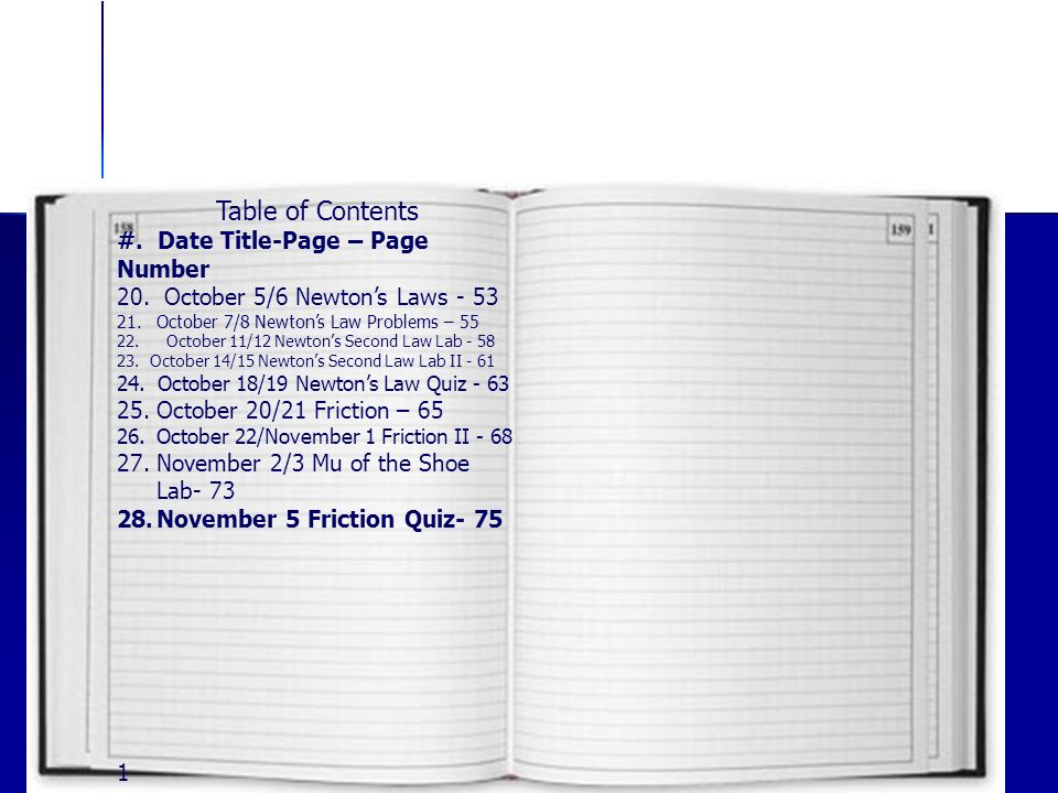 Table of Contents #. Date Title-Page – Page Number 20.