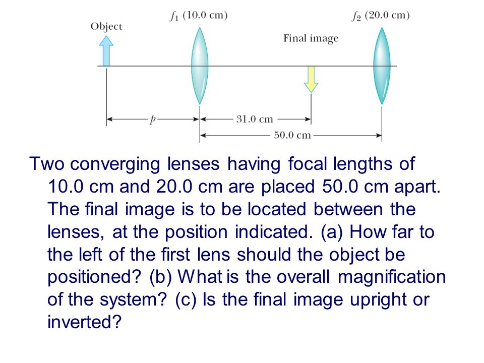 Two converging lenses having focal lengths of 10.0 cm and 20.0 cm are placed 50.0 cm apart.