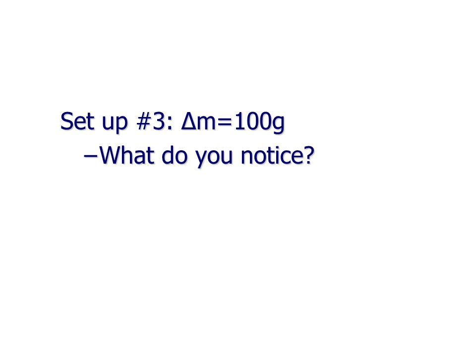 Set up #3: Δm=100g –What do you notice?