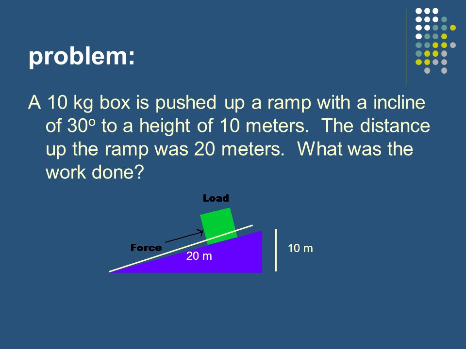 problem: A 10 kg box is pushed up a ramp with a incline of 30 o to a height of 10 meters.
