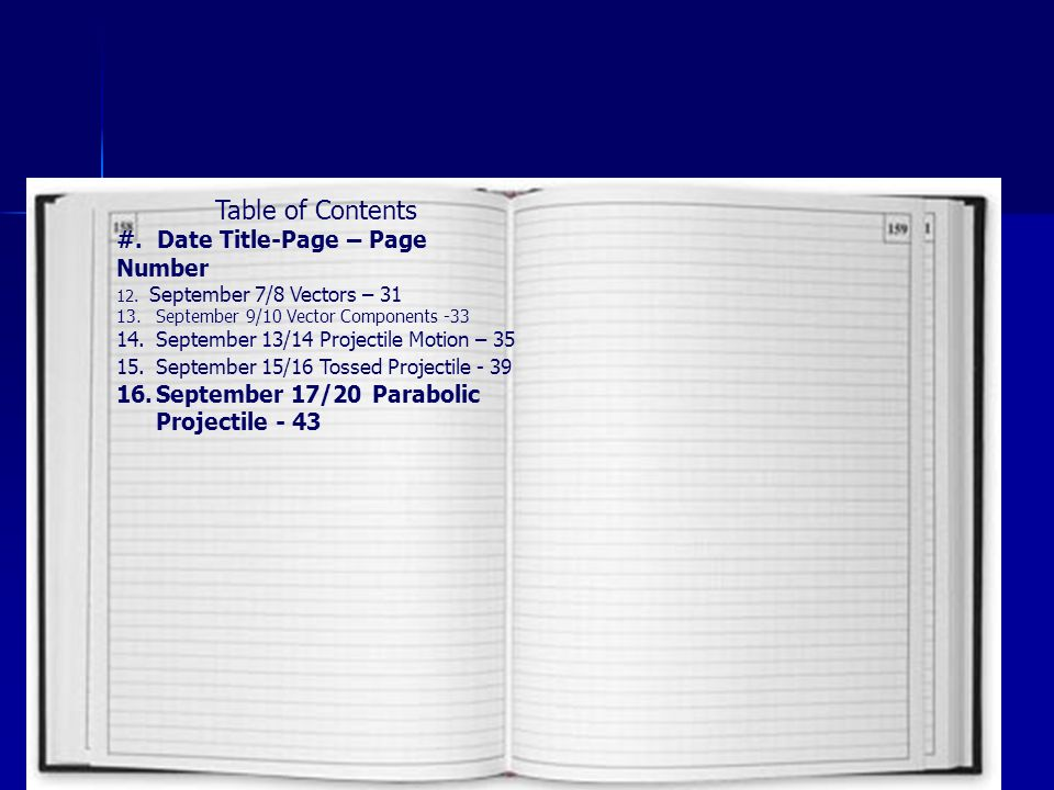 Table of Contents #. Date Title-Page – Page Number 12.