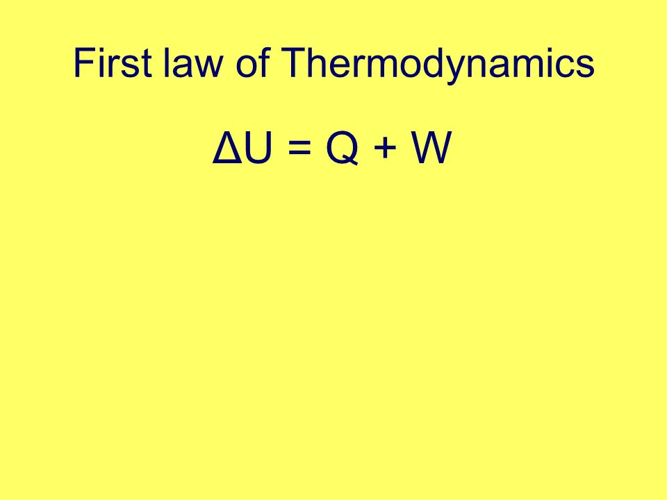 First law of Thermodynamics ΔU = Q + W