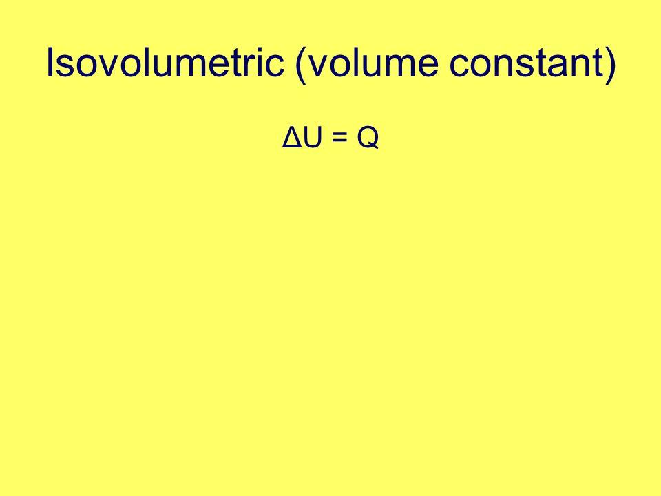 Isovolumetric (volume constant) ΔU = Q