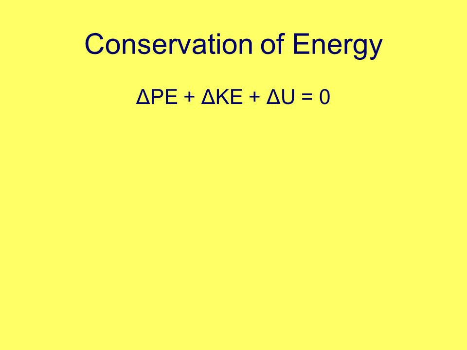 Conservation of Energy ΔPE + ΔKE + ΔU = 0