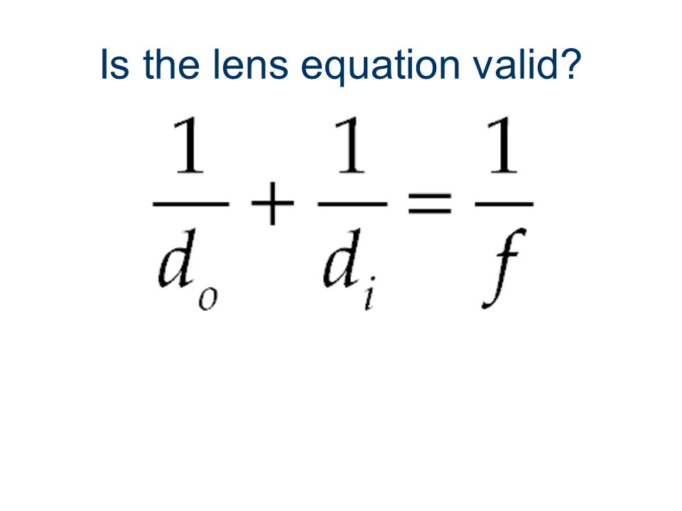 Is the lens equation valid