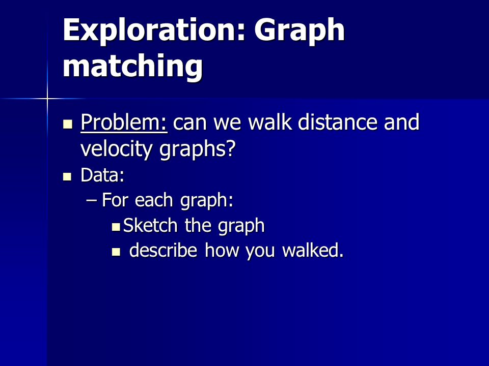Exploration: Graph matching Problem: can we walk distance and velocity graphs.