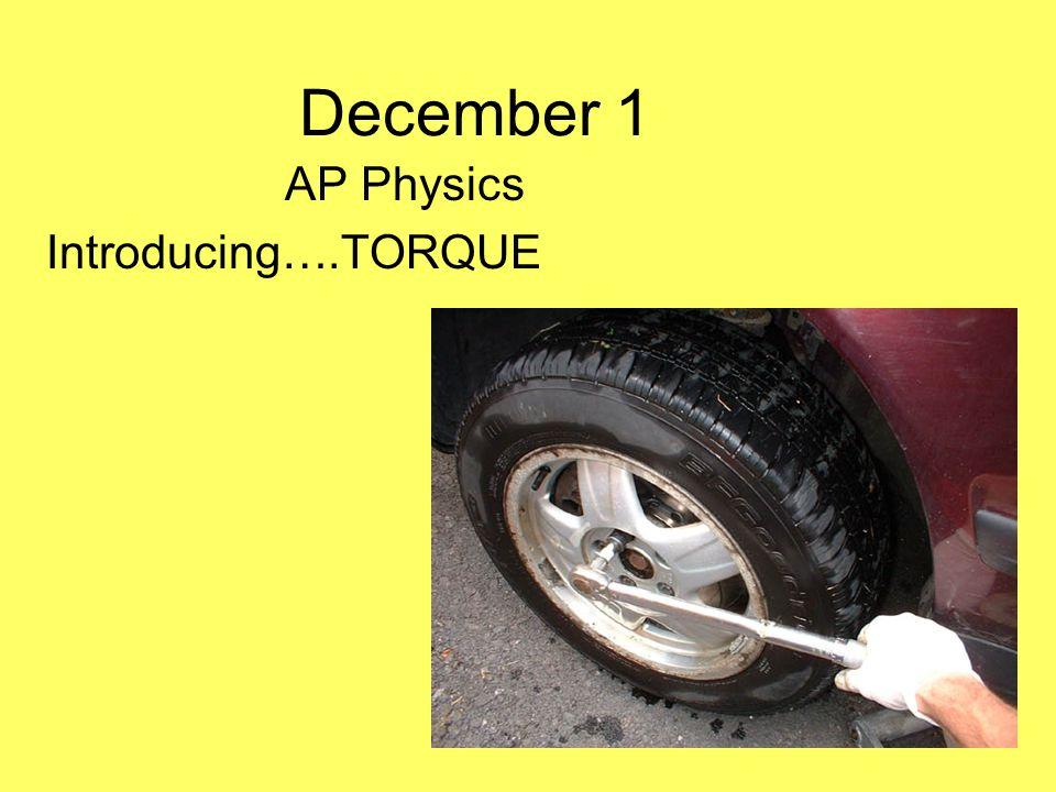 December 1 AP Physics Introducing….TORQUE