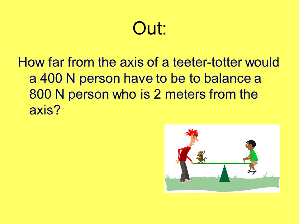 Out: How far from the axis of a teeter-totter would a 400 N person have to be to balance a 800 N person who is 2 meters from the axis?