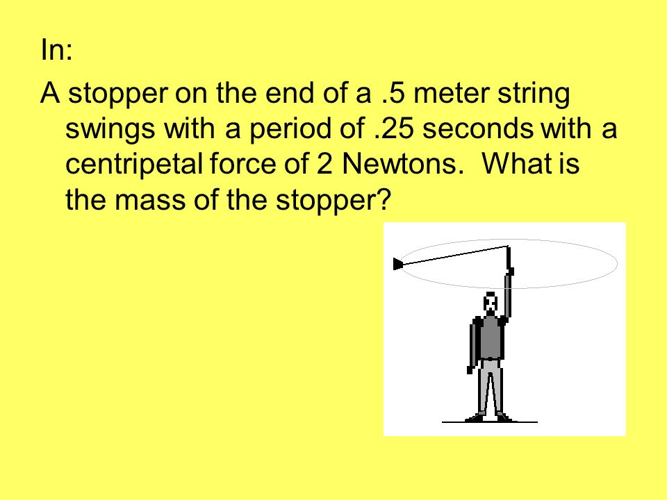 In: A stopper on the end of a.5 meter string swings with a period of.25 seconds with a centripetal force of 2 Newtons.