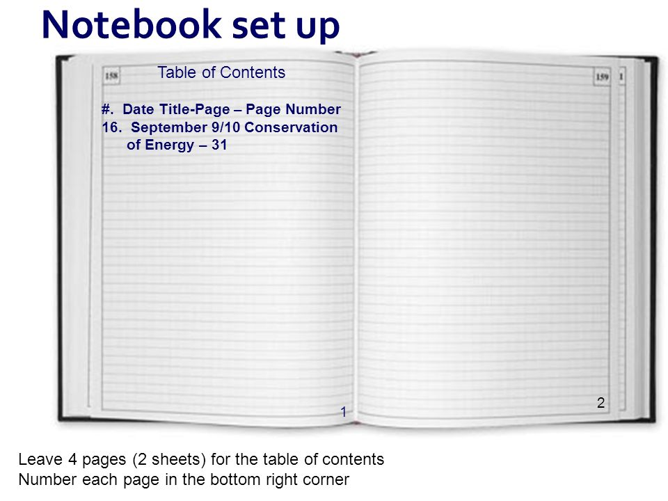Notebook set up Table of Contents #. Date Title-Page – Page Number 16. September 9/10 Conservation of Energy – 31 1 Leave 4 pages (2 sheets) for the t