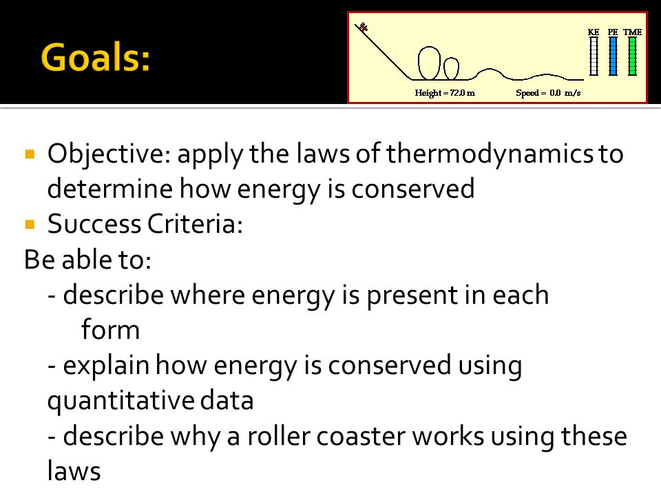 Objective: apply the laws of thermodynamics to determine how energy is conserved Success Criteria: Be able to: - describe where energy is present in e