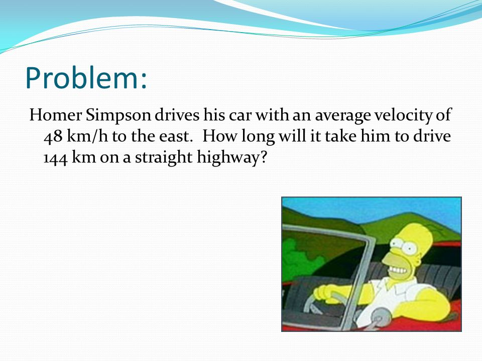 Problem: Homer Simpson drives his car with an average velocity of 48 km/h to the east.