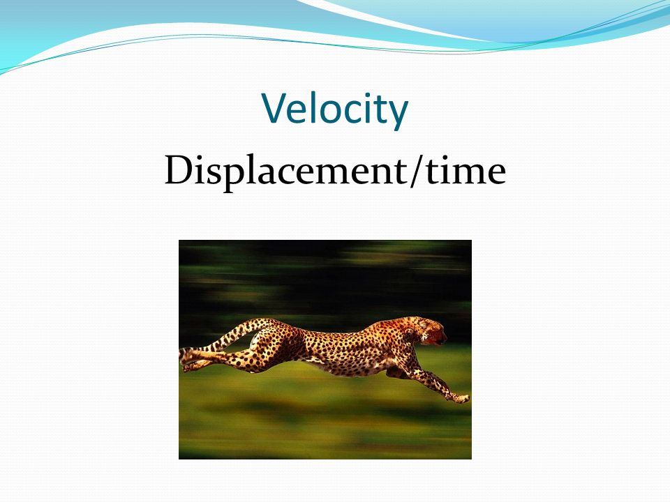 Velocity Displacement/time